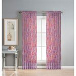 Window Elements Olina Printed Sheer Extra Wide 54 x 84 in. Grommet Curtain Panel, Pink