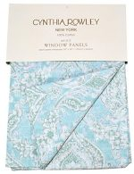 Cynthia Rowley Turquoise Window Curtains Annette Floral Paisley Scrolls Window Panels 52-by-96-inch Set of 2 Cotton Window Curtains Hidden Tabs Turquoise Blue Green White