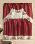 3 Piece Kitchen Curtain Set: 2 Tiers and 1 Valance Burgundy with Red Apple-AHF 043
