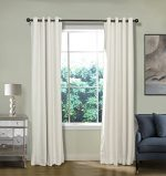 FirstHomer Solid Matt Heavy Velvet Curtain Drapery Panel Blackout Super Soft Handfeel Luxury Nickle Grommet Off White 50Wx84L Inch (Set of 2 Panels) Collection Theater  Bedroom  Living Room  Hotel