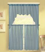 GorgeousHomeLinen (K66) 3 PC Solid Voile Rod Pocket Kitchen Window Sheer Curtain Set 2 Tier Panels, 1 Swag Valance (SLATE BLUE)