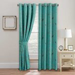 H.Versailtex Thermal Insulated Blackout Window Room Grommet Curtain Drapes-52 inch Width by 63 inch Length-Set of 2 Panels-Turquoise Blue Birds Pattern