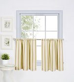 Elrene Home Fashions 026865775662 Rod Pocket Stripe Kitchen/Cafe Tier Window Curtain, Set of 2, 30″ x 36″, Gold