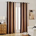 Melodieux Chenille Stripe Energy Efficient Grommet Top Curtains, 52 by 96 Inch, Beige/Khaki/Chocolate (1 Panel)