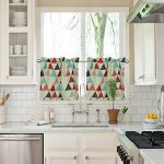 FlamingoP 2 Piece Kitchen Curtain Set : 2 Tiers, 29″ wide by 24″ long , Rod Pocket , Triangle