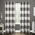 Exclusive Home Santa Monica Cabana Stripe Linen Grommet Top Window Curtain Panels, black Pearl, 54″ X 96″, Set of 2 / PAIR