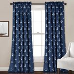 Lush Decor 16T000697 Anchor Room Darkening Window Panel Curtain Set, 84″ x 52″ + 2″ Header, Navy