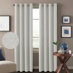 H.Versailtex Classical Grommet Top Thermal Insulated Heavy Weight Textured Tiny Plaid Linen Look Innovated 85% Blackout Room Curtains,52 by 84 Inch-White (Set of 2 Panels)