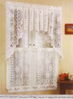 Hopewell Lace Kitchen Curtain – 36″ tier (pr) – CREAM