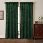 Comforhome Solid soft velvet window curtain Rod Pocket Drapes Dark Green 52″ x 63″ (1 Panel)