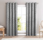 HLC.ME Redmont Lattice Wide-Width Thermal Blackout Grommet Curtain Panel – 84″ inch Long (Light Grey)