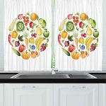 Ambesonne Kitchen Decor Collection, Fruit and Vegetables Vintage Style Kitchenware Cafe Home Design Watercolor Art, Window Treatments for Kitchen Curtains 2 Panels, 55X39 Inches, White Green Yellow