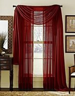 LuxuryDiscounts Beautiful Elegant Solid Burgundy Sheer Scarf Valance Topper 40″ X 216″ Long Window Treatment Scarves
