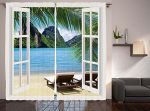 Nautical Curtains Palm Tree Decor by Ambesonne, Ocean Beach Seascape Heaven Sunbeds Balcony White Wooden Windows Summer Tropical 2 Panels Set Curtains for Living Room and Bedrooms, Blue Green White
