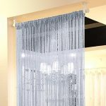 Topixdeals 110 X 110 Inch Cm Rare Flat Silver Ribbon Door String Curtain Thread Fringe Window Panel Room Divider Cute Strip Tassel Party Events (Silvery-gray)