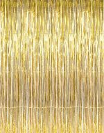 "Set of 2 Shiny Gold Metallic Foil Fringe Door & Window Curtain Party Decoration 3′ X 8′ (36″ X 96″) ""Value Pack of 2"""