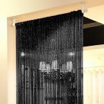 Topixdeals 37 X 76 Inch Rare Flat Silver Ribbon Door String Curtain Thread Fringe Window Panel Room Divider Cute Strip Tassel Party Events (Black)