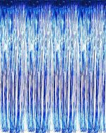 "Set of 2 Blue Foil Fringe Door & Window Curtain Party Decoration 3′ X 8′ (36″ X 96″) ""Value Pack of 2"""