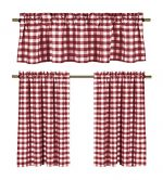 Wine Red White Gingham Checkered Design Kitchen Curtain, 3 Pc