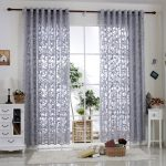 R.LANG Solid Grommet Top Modern Embroidered sheer Curtain 1 Pair Gray 46″W X 54″ L