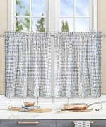 Simple Comfort Davins Multi Colored Ikat Check 100-Percent Cotton Twill (Tailored Tier Curtains, 56 x 36″, Blue)