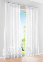 Uphome 1-Pair Solid Ruffle Sheer Window Curtain Panels – Rod Pocket Living Room Voile Curtain (White, 59″W x 102″H)
