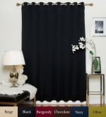 Black Wide Width Nickel Grommet Top Thermal Insulated Blackout Curtain 100 Inch Wide By 96 Inch Long Panel