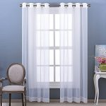 Nicetown Window Treatment Crushed Voile Sheer Curtains With Grommet Top for Patio / Villa / Parlor (Set of 2, 52 Wide x 95 inch Long, White)