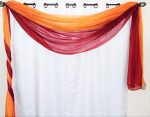 GorgeousHome *Different Colors* 2 **MIX-MATCH COLORS** Elegant Scarf Valance Voile Sheer Curtain Window Dressing 216″ inch long (Brick & Orange)
