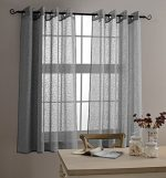 MYSKY HOME Top Grommet Window Embroidery Voile Embroidered Sheer Curtain Panel for Living Room, Grey – 53″W x 63″L – (1 Panel)