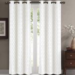 Willow Jacquard White Grommet Blackout Window Curtain Panels, Pair / Set of 2 Panels, 84×108 Inches Pair, 42×108 Inches Each Panel, by Royal Hotel