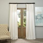 Half Price Drapes PDCH-KBS2-84 Vintage Textured Faux Dupioni Silk Curtain, Off White