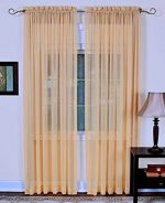 4-Piece SOFT PEACH Sheer Voile Window Panel Curtains 55″W X 84″L Each Panel