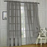 LuxuryDiscounts 2 Piece Solid Grey / Gray Elegant Sheer Curtains Fully Stitched Panels Window Treatment Drape 60″ X 84″
