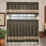 Embroidered Mini-Plaid Pair of Tiers – Perfect Plaid Tier Curtains for Kitchen, Bathroom, and Bedroom – Small Check Plaid with Acorn Embroidery (60″W x 36″L Pair of Tiers, Green)