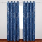 Deconovo Abstract Circle Print Curtains with Grommets Blackout Curtains Thermal Insulated Curtains Room Darkening Curtains for Sliding Glass Doors 52 x 84 Inch Dark Blue 1 Pair