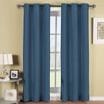 Elegance Linen Triple Layer Faux Silk – SOLID BLACKOUT GROMMET PANEL – Room Darkening, Energy Saving and Noise-Reducing – 54″ Width X 84″ Length – Navy Blue