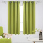 Deconovo Solid Color Grommet Blackout Curtains Room Darkening Curtains for Sliding Glass Door 52W x 63L Inch Spring Green 1 Pair