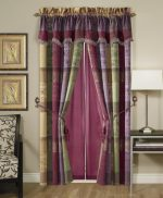 Chezmoi Collection Gitano Jacquard Patchwork 4-Piece Window Curtain/Drape Set with Sheer Backing, Multi Color