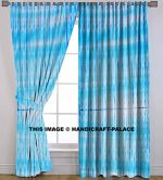"Indian Stripe Curtains Shibori Tie Dye Curtain 2 PC Set Cotton Handmade Bohemian Room Divider Window Hanging Tab Top Lopps Hanger Curtain By ""Handicraftspalace"" [82″ x84″]"