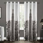 Exclusive Home Manhattan Grommet Top Window Curtain Panels 54″ x 96″, White/Black, Sold As Set of 2 / Pair