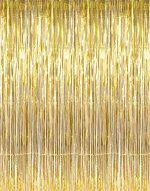 GOER 3.2 ft x 13.1 ft Metallic Tinsel Foil Fringe Curtains for Party Photo Backdrop Wedding Decor (Gold,5 pack)