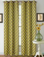 GorgeousHomeLinen K22 1 PC Modern Design Room Darkening Insulated Blackout Window Curtain Drape Panel 35″ width X 63″ length (Yellow Grey)