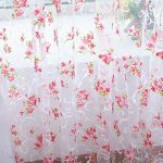 Edal Floral Tulle Voile Door Window Curtain Drape Panel Scarf Sheer Valances for Home Decor Pink