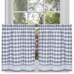 Achim Home Furnishings Buffalo Check Window Curtain Tier Pair, 58″ X 24″, Grey