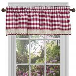 Buffalo Check Plaid Gingham Custom Fit Window Curtain Treatments By GoodGram – Assorted Colors, Styles & Sizes (Single 14 in. Valance, Burgundy)