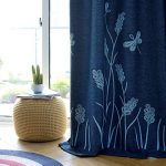 Melodieux Wheat Embroidery Linen Finishing Window Blackout Noise-Free Grommet Top Curtains for Bedroom 52 by 84 Inch Navy/Blue 1 Panel