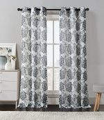 2 Pack: Floral Chic Luxurious Curtain Panels by GoodGram® – Assorted Colors (Grey)