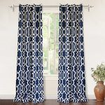 DriftAway Drift Away Abigail Trellis Room Darkening Grommet Unlined Window Curtains, Set of Two Panels, each 52″x84″ (Navy)