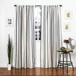 Homier Navy Blue Striped Linen Blend Window Curtain/drape/panel/treatment/covering – Rod Pocket Panel – Nautical Narrow Denim Stripes on Modern White/Cream Linen – 50 x 84 Inches Long, 2 Panels Pair